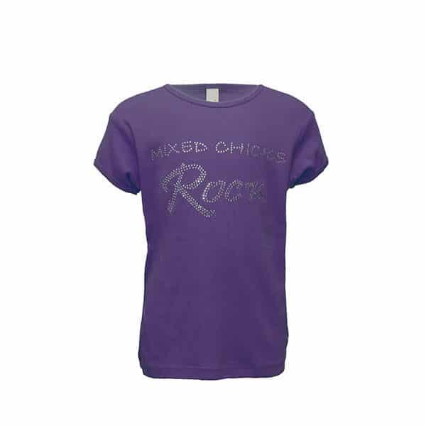 Mixed Chicks Kid's Bling Crew Neck - Purple