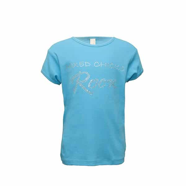 Mixed Chicks Kid's Bling Crew Neck - Turquoise